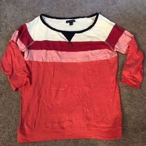 American Eagle color blocking top in coral & blue